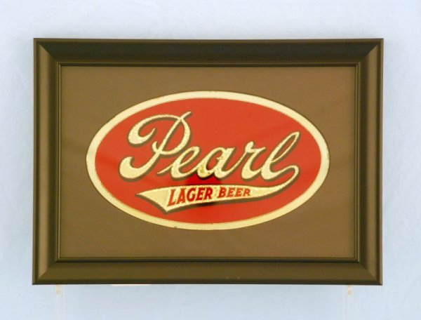 20: Pearl Lager Beer Reverse on Glass in Frame NOS