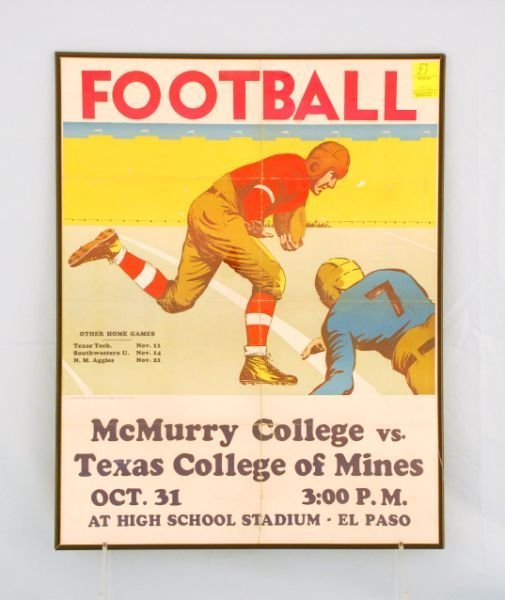 21: 1940s Texas College of Mines Football Poster