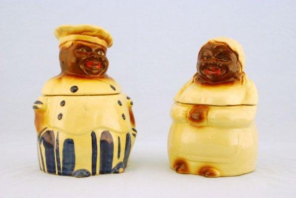 28: Pair of Cooky & Mammy Cookie Jars Black Americana