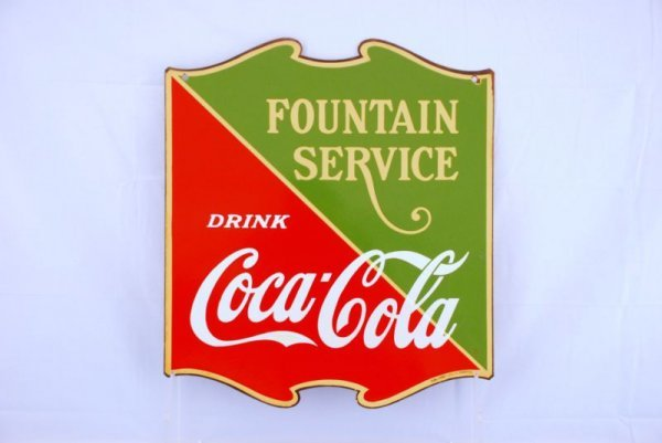 131: 1934 Coca-Cola Scroll Fountain Service Sign