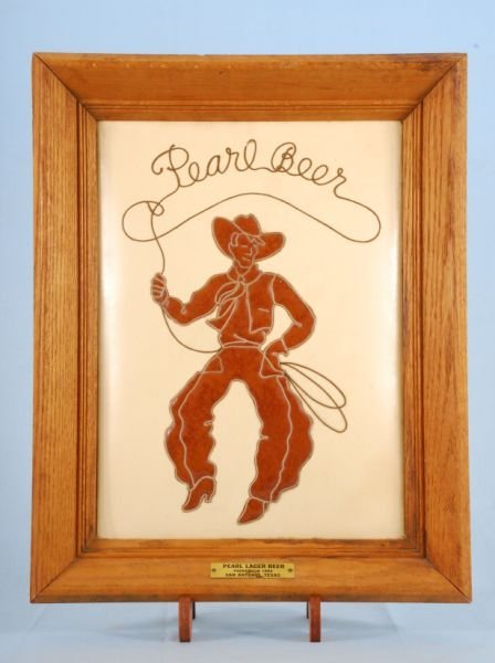 305: Framed Pearl Beer Cowboy Leather Advertising Sign
