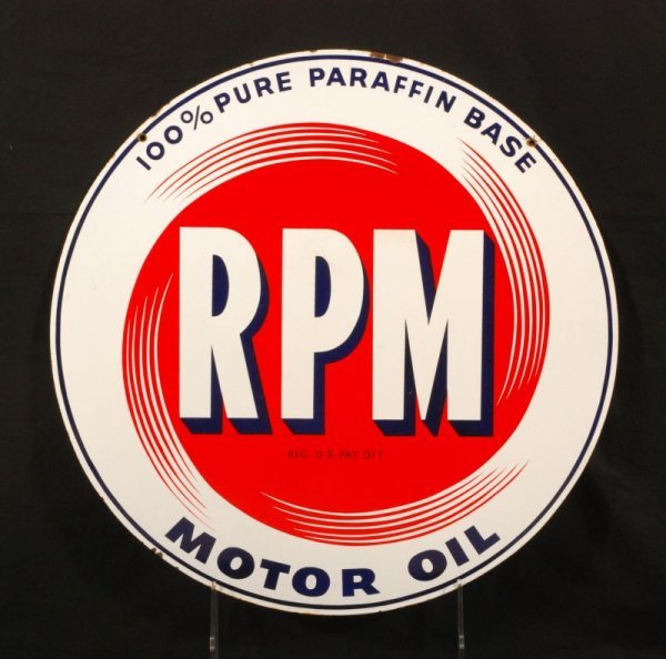 314: RPM Motor Oil Double Sided Porcelain Sign