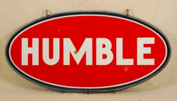 315: Humble Double Sided Porcelain Sign In Frame