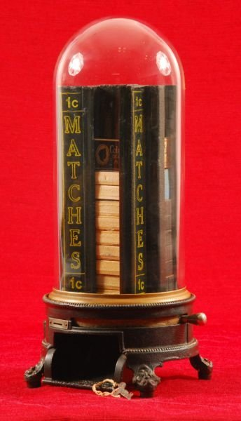 32: Cast Iron Advance 1 Cent Dome Match Dispenser