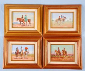 Four Gary Yazzie Oil On Board Paintings