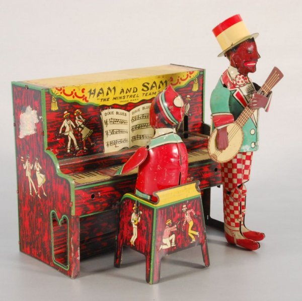 """270: """"Ham and Sam"""" Wind-up Lithographed Tin Toy"""