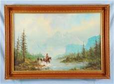 316 Lester Hughes Cowboy Landscape Oil on Canvas