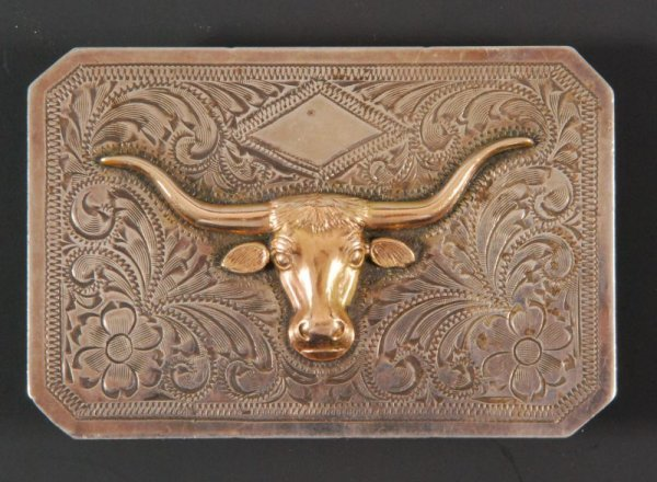 581: Engraved Sterling Silver Steerhead Belt Buckle