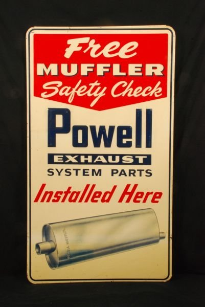 584: Powell Muffler Embossed Tin Advertising Sign