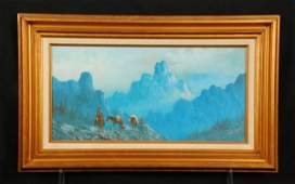 588 Lester Hughes Cowboys in Mountains Oil on Canvas