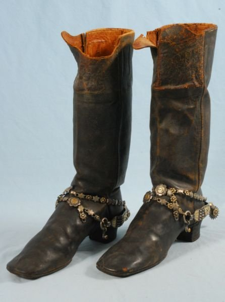 622: Pair of Antique Boots & Ornate Gold & Silver Spurs