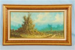 672 Lester Hughes Western Windmill Oil on Canvas
