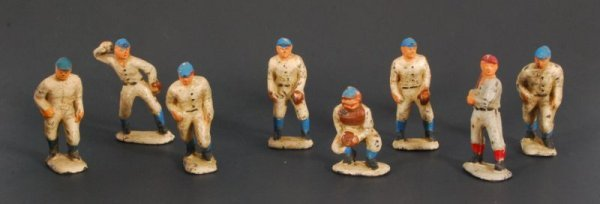 961: Collection Of Nine Cast Iron Baseball Players