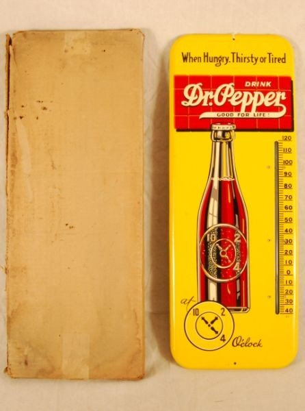 6: Dr Pepper Tin Advertising Thermometer Mint NOS