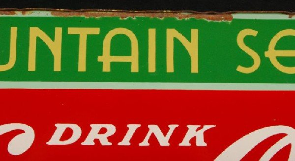 8: Coca-Cola Fountain Service 1934 DS Porcelain Sign - 10