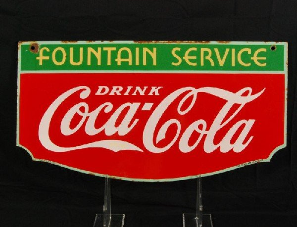 8: Coca-Cola Fountain Service 1934 DS Porcelain Sign