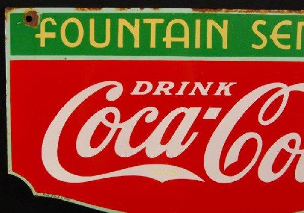 8: Coca-Cola Fountain Service 1934 DS Porcelain Sign - 2