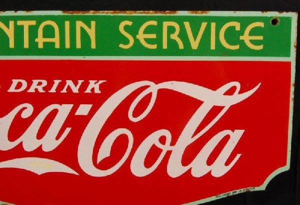 8: Coca-Cola Fountain Service 1934 DS Porcelain Sign - 3