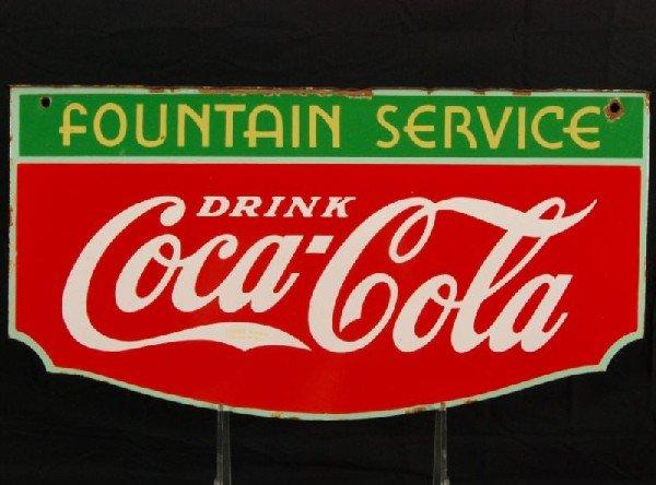 8: Coca-Cola Fountain Service 1934 DS Porcelain Sign - 7