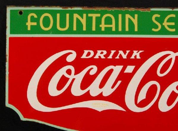 8: Coca-Cola Fountain Service 1934 DS Porcelain Sign - 8