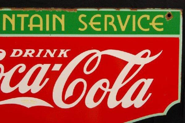 8: Coca-Cola Fountain Service 1934 DS Porcelain Sign - 9