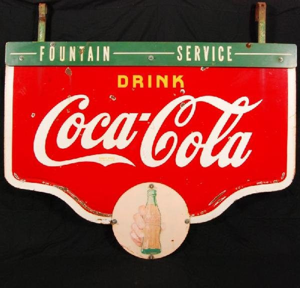 9: Coca-Cola Fountain Service D/S Porcelain Sign