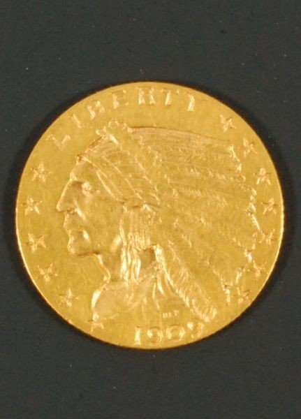 28: 1909 Indian Head Gold Coin  2-1/2 Dollar