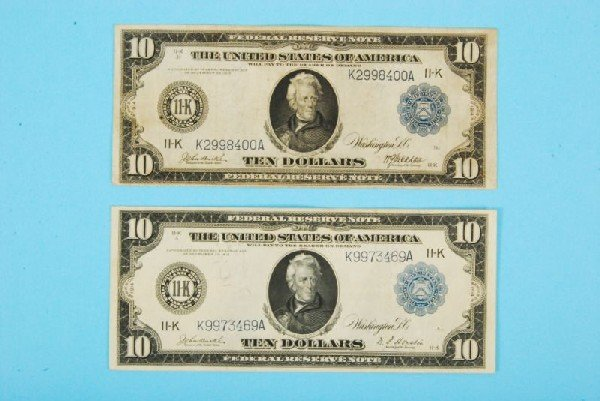 33: Two 1913 Ten Dollar Bills