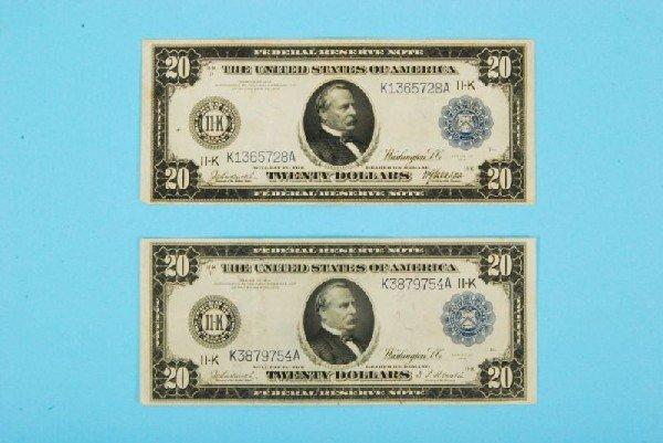 34: Two $20 Federal Reserve Bills Train & Ship Design