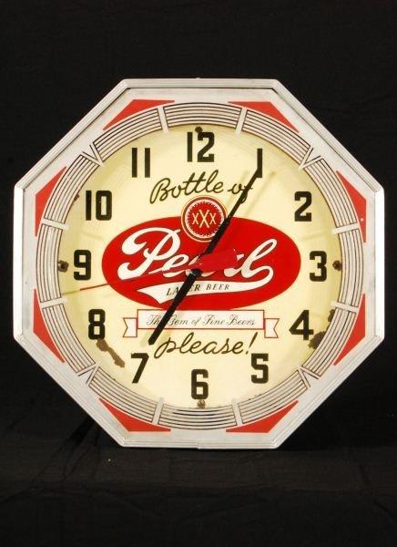 35: Pearl Beer Neon Octagon Clock