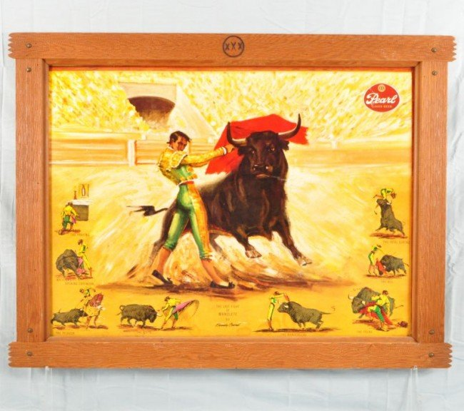 22: Pearl Beer Framed Bullfighter Sign