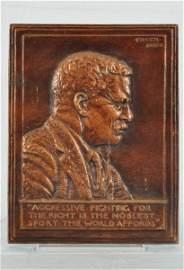 33: Teddy Roosevelt  Relief Bronze Plaque 1920 Fraser