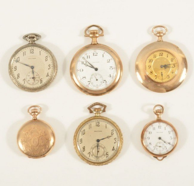 439: Estate Lot of 6 Waltham Pocket Watches