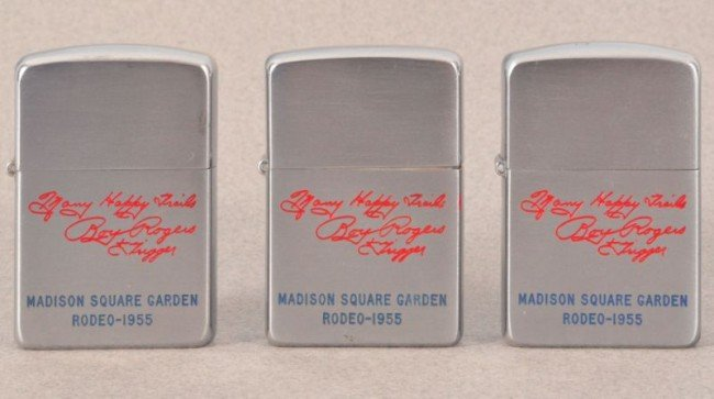 75: Three 1955 Roy Rogers Rodeo Zippo Lighters RR