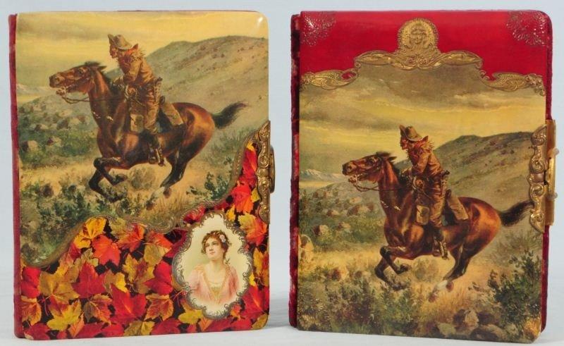 2 Cowboy Celluloid Cover Photo Albums
