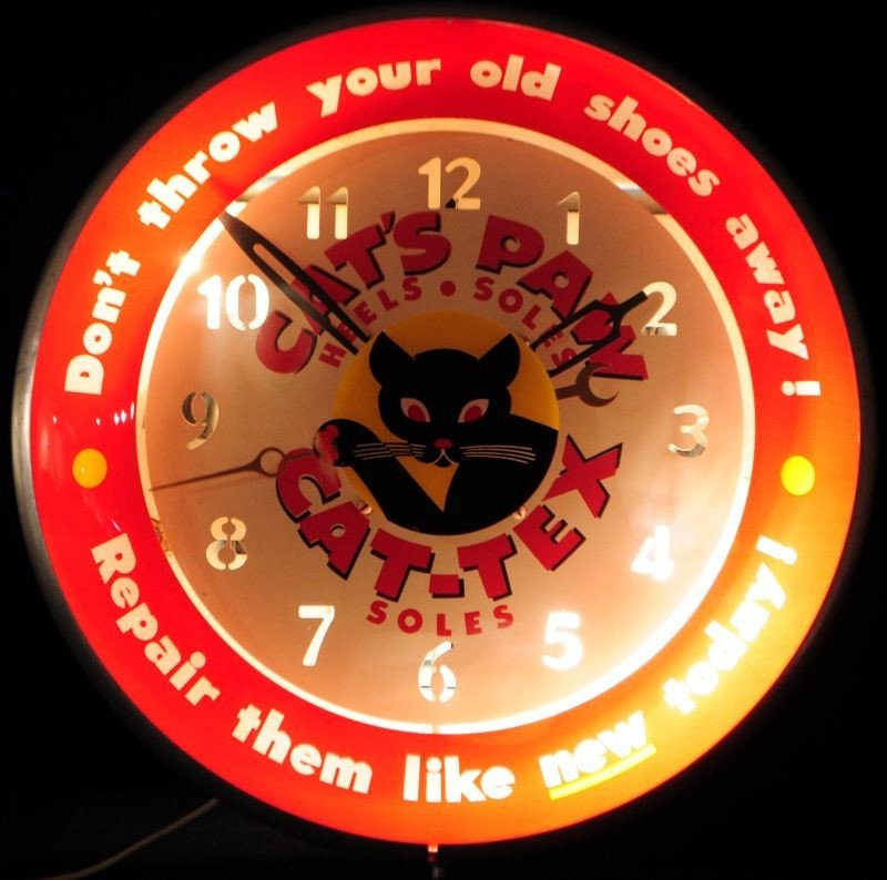 Cat's Paw Advertising Clock