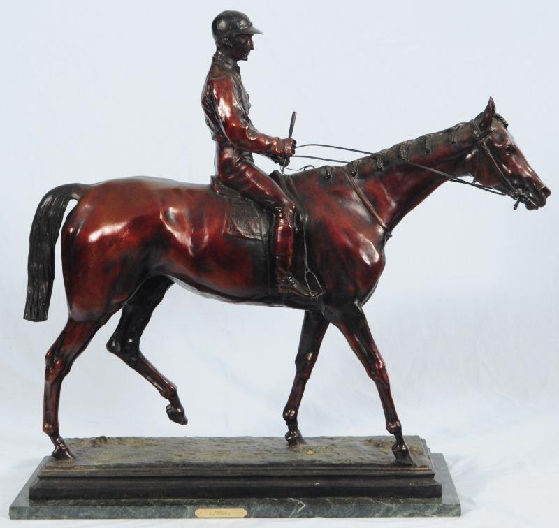 Race Horse & Jockey Bronze by Isodore Bonheur