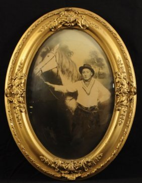 6: Cowboy & Horse Photo in Domed Glass Frame