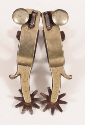 Pair Of Silver Overlaid Spurs