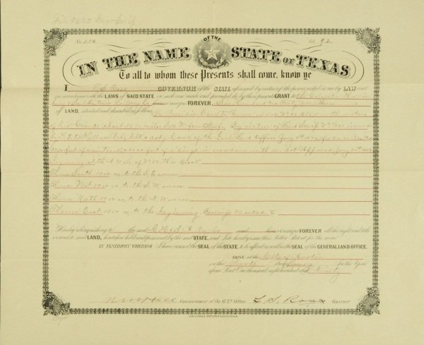 Texas Governor Ross Signed Land Grant 1890