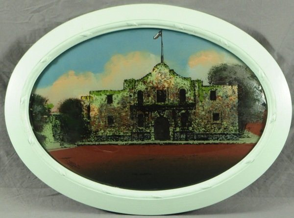 """""""The Alamo"""" Reverse Painted Dome Glass"""