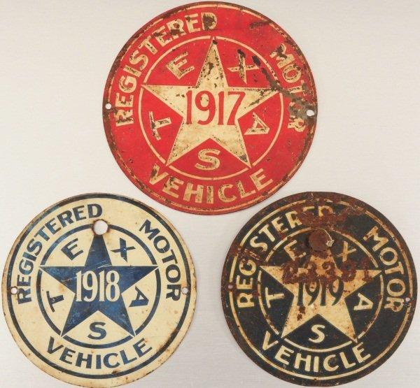 3 Texas License Plates 1917, 1918, & 1919 Radiator