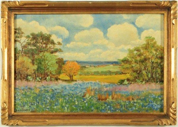 7: Texas Bluebonnet Oil Painting By F.W. Noske 1945