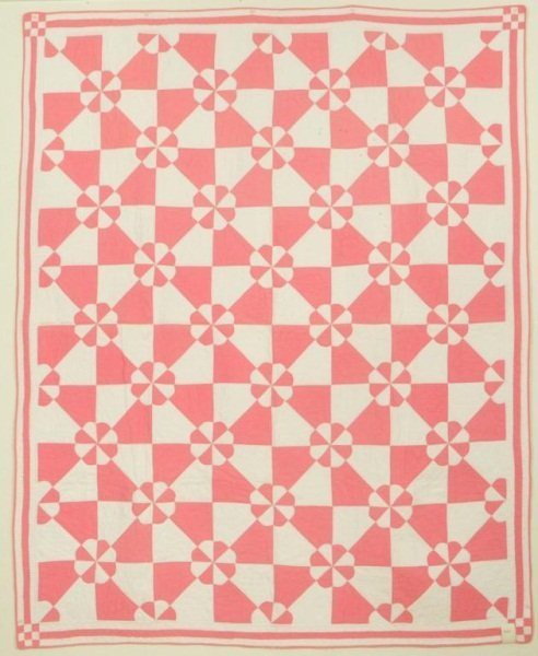 11: Texas Quilt  Pink And White Signed 1932
