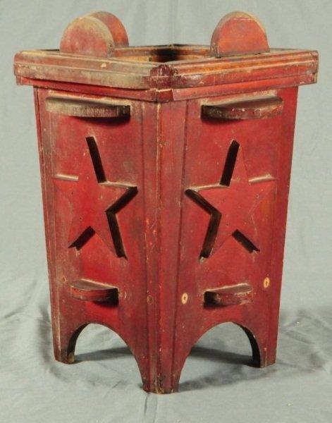16: Texas Folk Art Red Painted Umbrella Stand