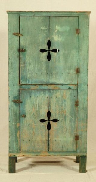 52: Green Painted Cupboard  Moulton, Texas