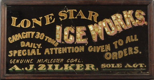 4: Lone Star Ice Works Reverse Painted Glass Sign