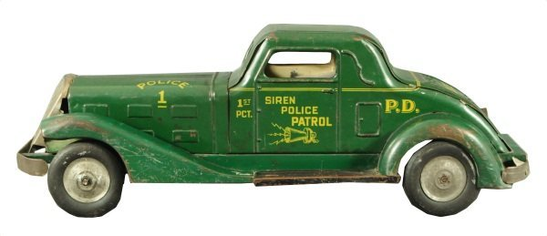 8: Police Car Louis Marx Tin Wind Up Toy