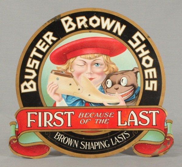 11: Buster Brown Shoes Tin Advertising Sign