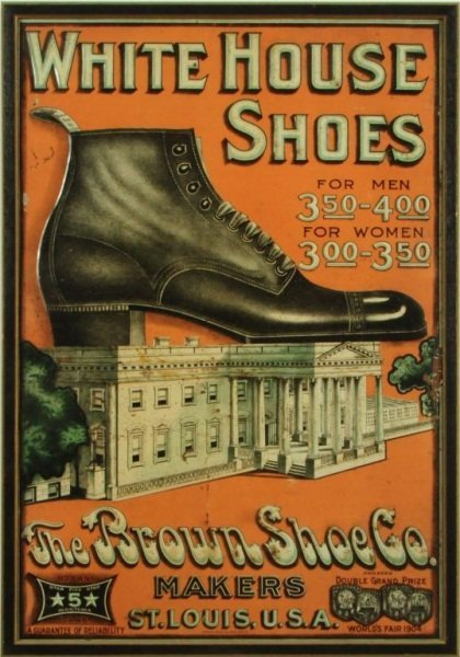 12: White House Shoes Embossed Lithographed Tin Sign